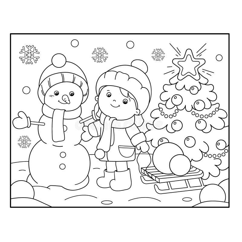 План страницы расцветки девушки с снеговиком и рождественской елкой C бесплатная иллюстрация