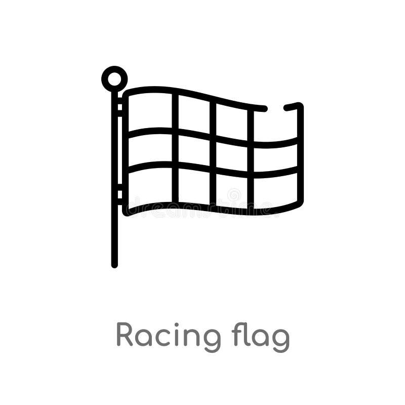 план участвуя в гонке значок вектора флага изолированная черная простая линия иллюстрация элемента от концепции урожайности edita бесплатная иллюстрация