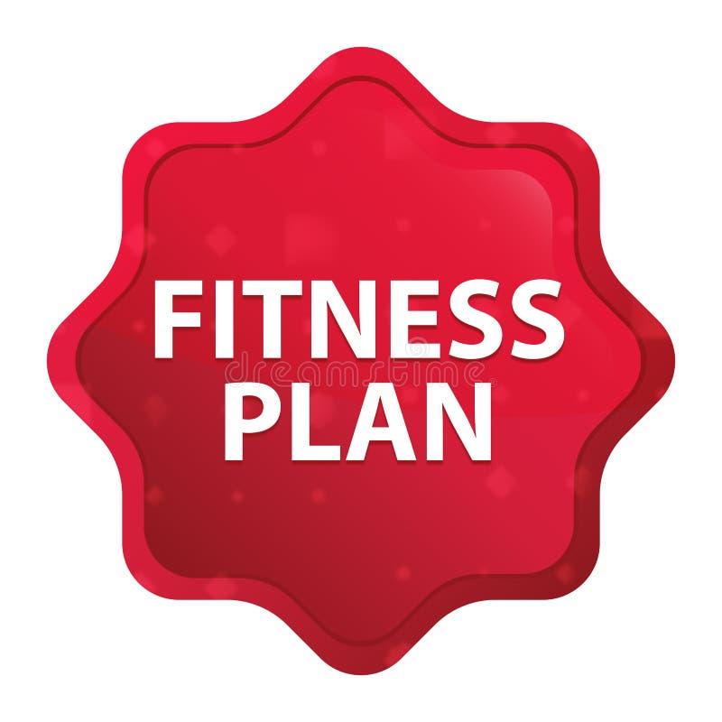 План фитнеса туманный поднял красная кнопка стикера starburst иллюстрация вектора
