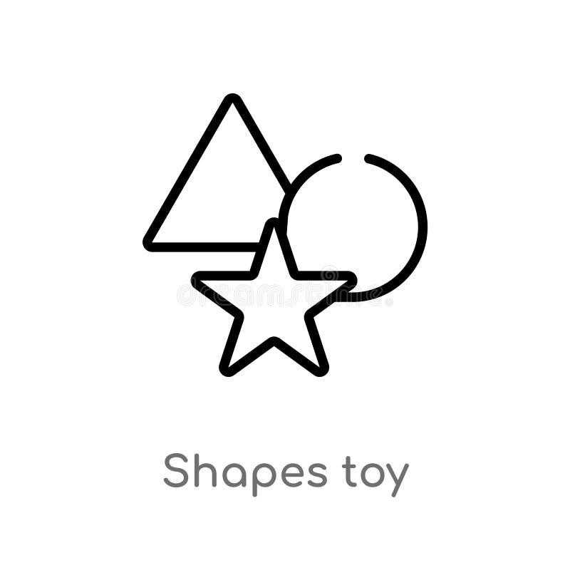 план формирует значок вектора игрушки изолированная черная простая линия иллюстрация элемента от концепции игрушек editable формы иллюстрация штока