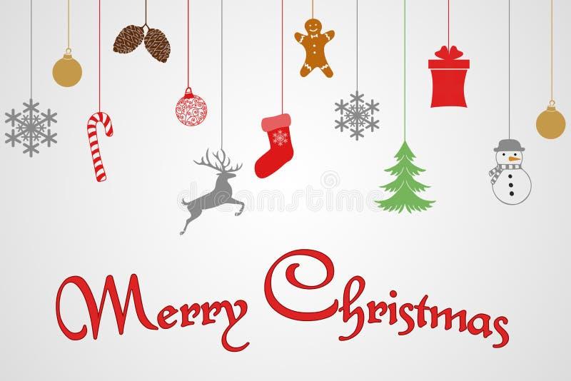 План шаблона дизайна поздравительной открытки текста веселого рождества на белой предпосылке с игрушкой смертной казни через пове иллюстрация вектора