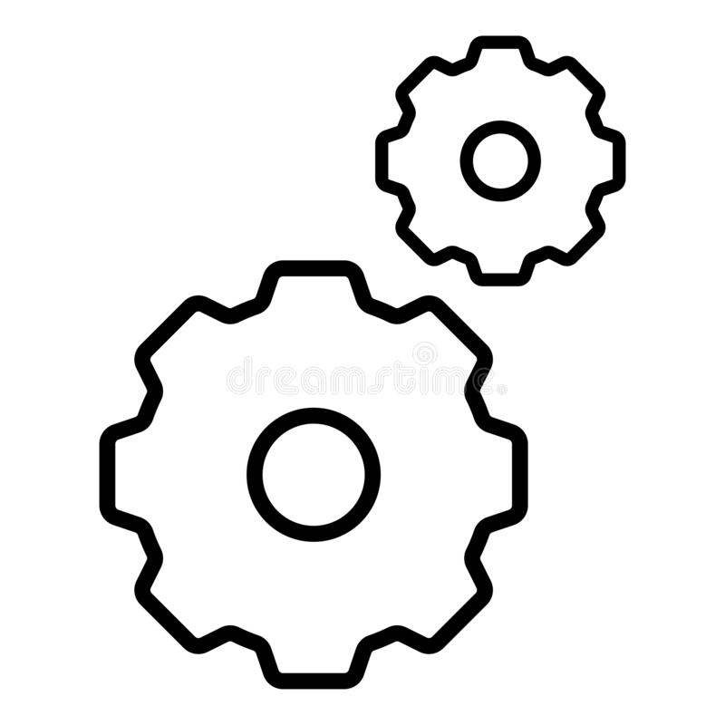 План шестерней изолированный значком черный в белой предпосылке бесплатная иллюстрация