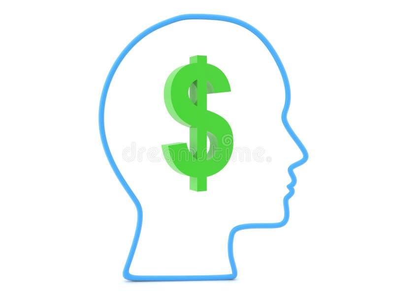 план 3D головы с символом доллара внутрь иллюстрация вектора