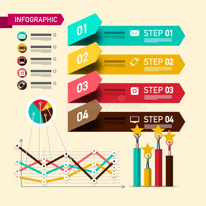 План Infographic 4 шагов с элементами дизайна и классифицируя символами Бумажное Infographics с бизнесменами и диаграммами иллюстрация вектора