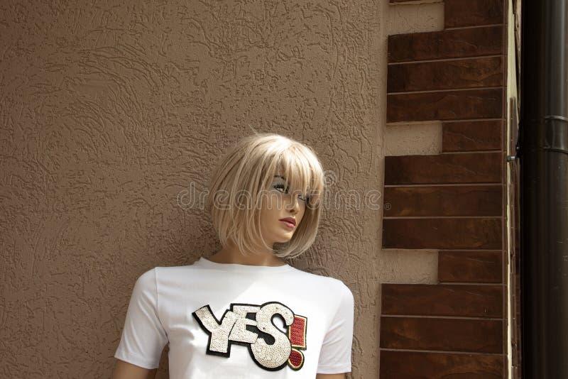 Пластиковая девушка ждет ее пластикового друга на угле улицы стоковое фото rf