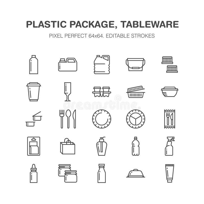 Пластиковая упаковка, устранимая линия значки tableware Продукт пакует, контейнер, бутылка, банка, столовый прибор плит иллюстрация штока