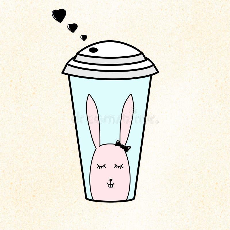 Пластиковая чашка кофе, сока или чая Бумажное стекло с маленькими черными сердцами Иллюстрация кролика на голубой предпосылке Жел иллюстрация штока