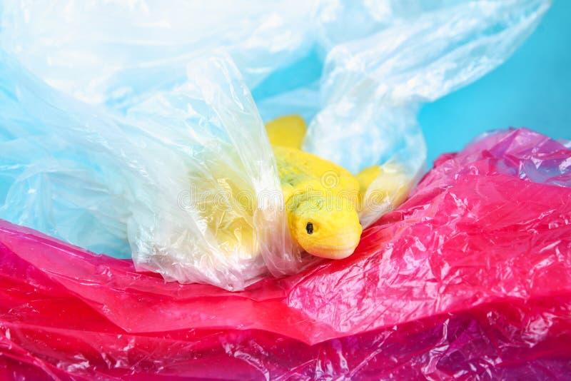 Пластиковое загрязнение в проблеме океана Полиэтиленовый пакет морской черепахи Экологическая ситуация E стоковая фотография