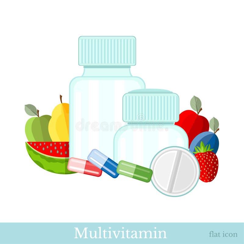 Пластиковые опарникы с плодом и различные таблетки на белизне Плоский multivitamin значка иллюстрация штока