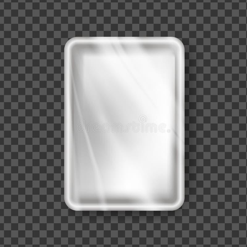Пластиковый вектор подноса Прозрачный обруч подноса пищевого контейнера Пустой полиэтилен продукта насмешливый вверх по шаблону П иллюстрация штока