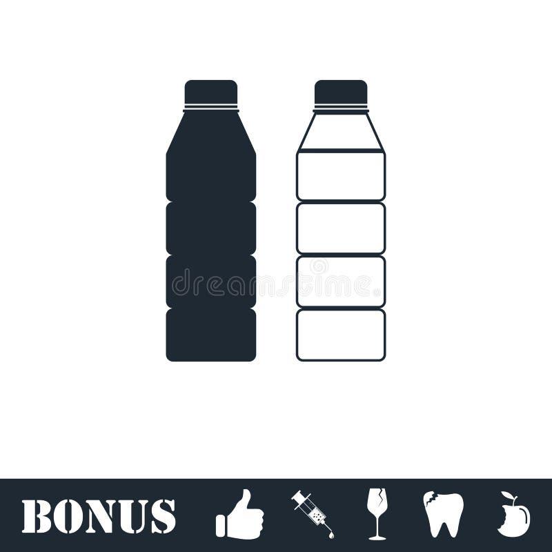 Пластиковый значок бутылки плоско иллюстрация штока