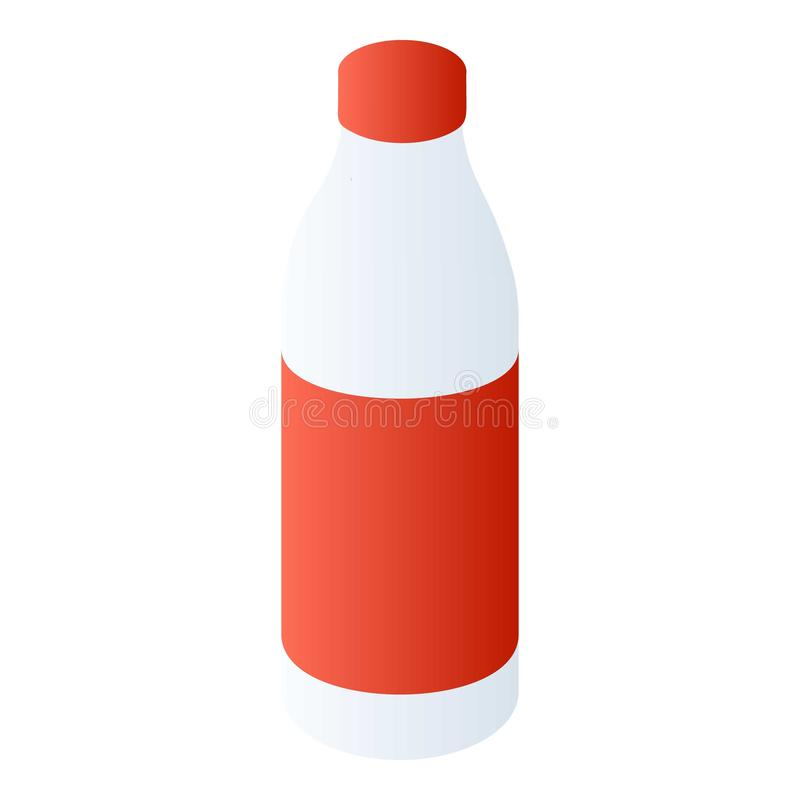 Пластиковый значок молока бутылки, равновеликий стиль иллюстрация вектора