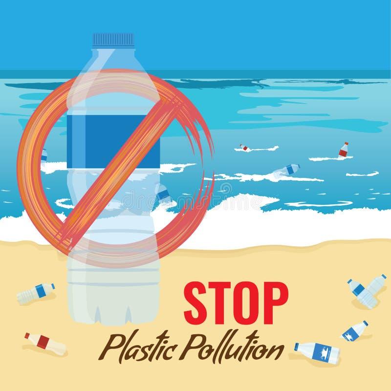Пластиковый модель-макет бутылки без знака Загрязнение концепции океана, моря или пляжа также вектор иллюстрации притяжки corel иллюстрация вектора