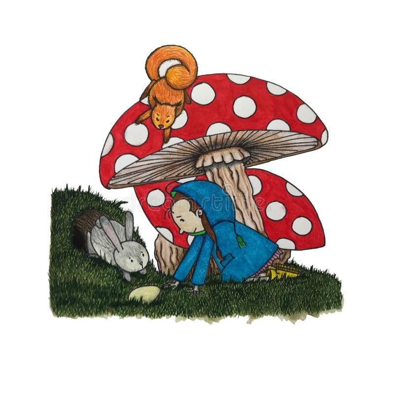Пластинчатый гриб девушки и мухы стоковые фотографии rf