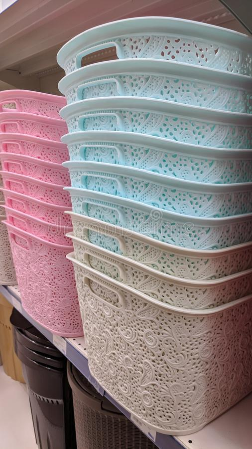 Пластичные корзины стоковое фото