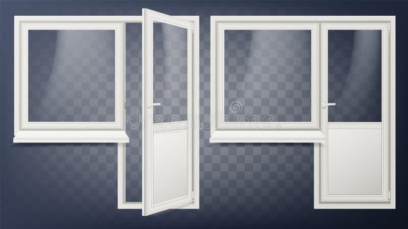 Пластичный вектор двери Домашние межкомнатная дверь и окно Раскрытый и закрытый Пластичная стеклянная дверь сбережениа иллюстраци иллюстрация штока