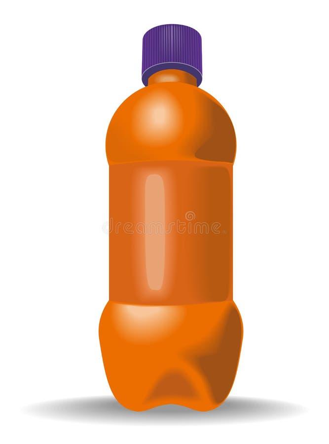 пластмасса померанца бутылки иллюстрация вектора