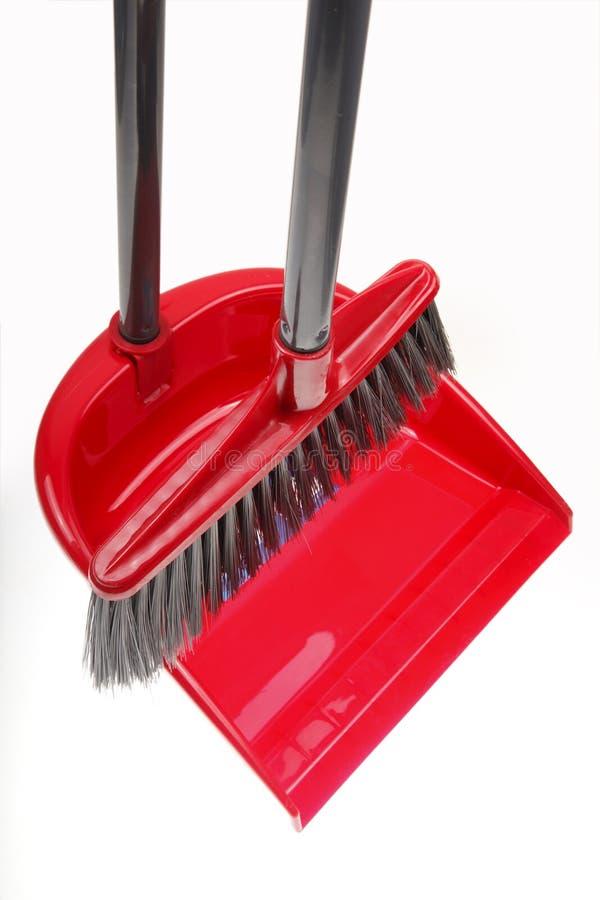пластмасса dustpan веника стоковое изображение