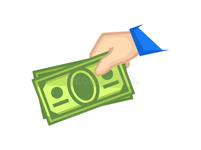 Платеж наличными значка Удерживание руки получает внутри покрашенную иллюстрацию наличными вектора иллюстрация вектора