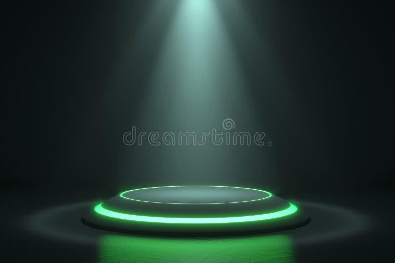 Платформа для дизайна, пустой стойки продукта с заревом зеленого света иллюстрация вектора