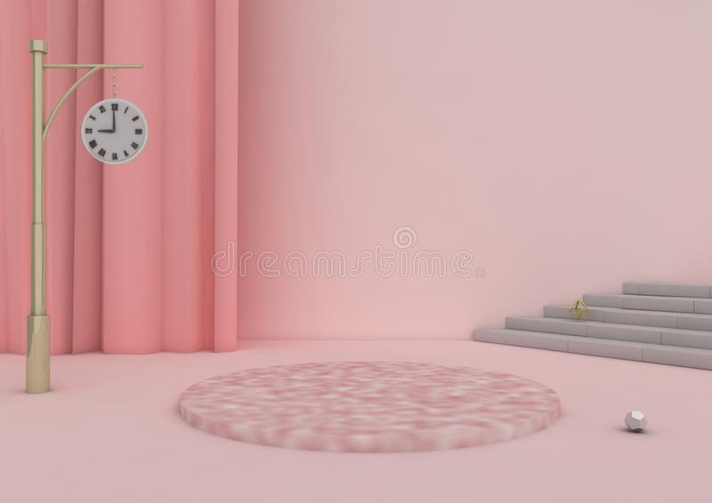 платформа иллюстрации 3D и розовая предпосылка бесплатная иллюстрация