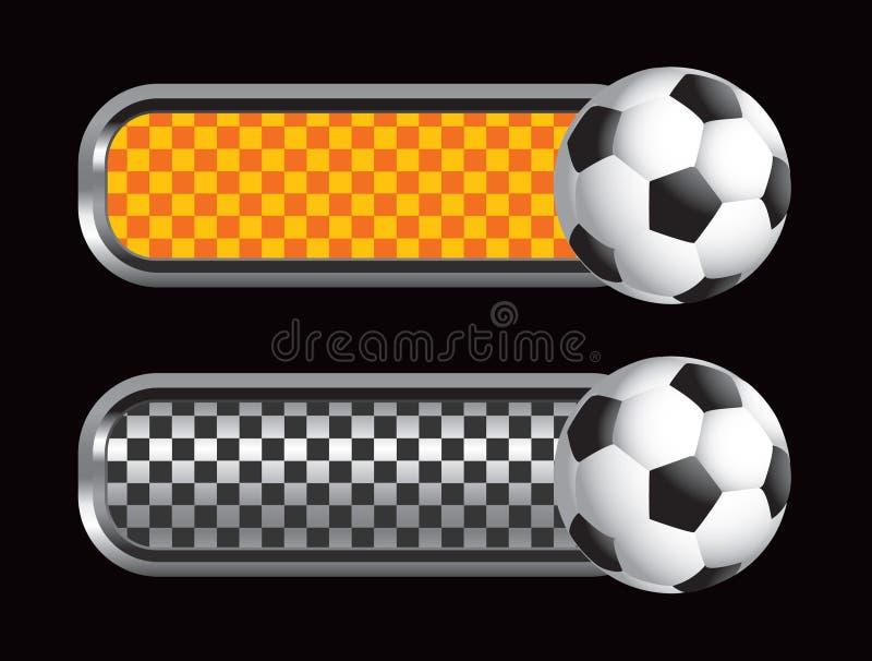 платы футбола шарика черные checkered померанцовые иллюстрация штока