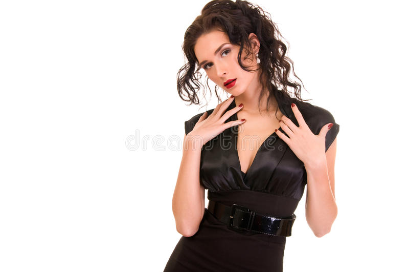 Download платье брюнет предпосылки над белой женщиной Стоковое Изображение - изображение насчитывающей людск, платье: 18386551