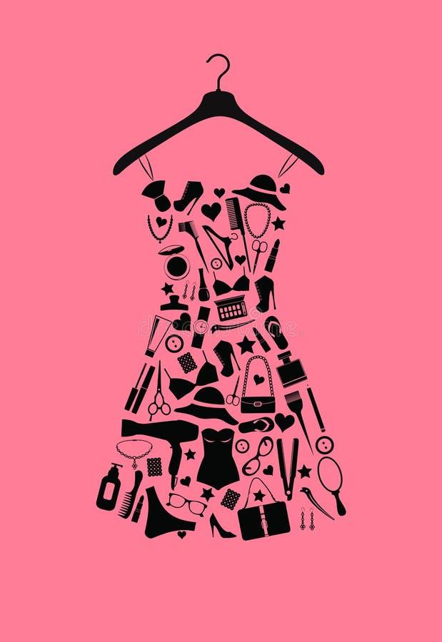 Платье женщины от аксессуаров иллюстрация вектора