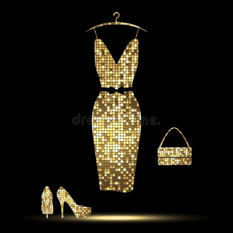 платье золотистое иллюстрация штока