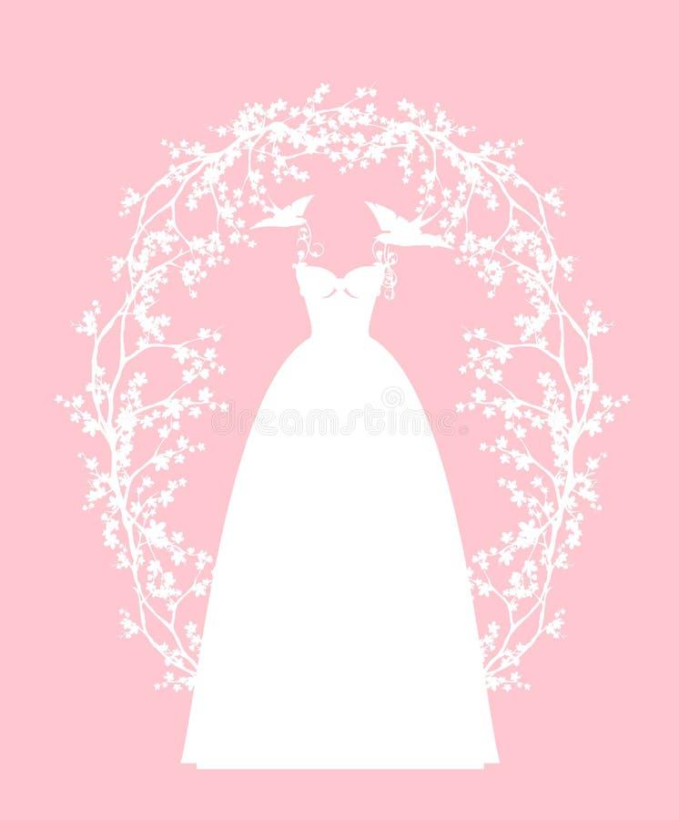 Платье свадьбы среди дизайна силуэта вектора цветков иллюстрация штока