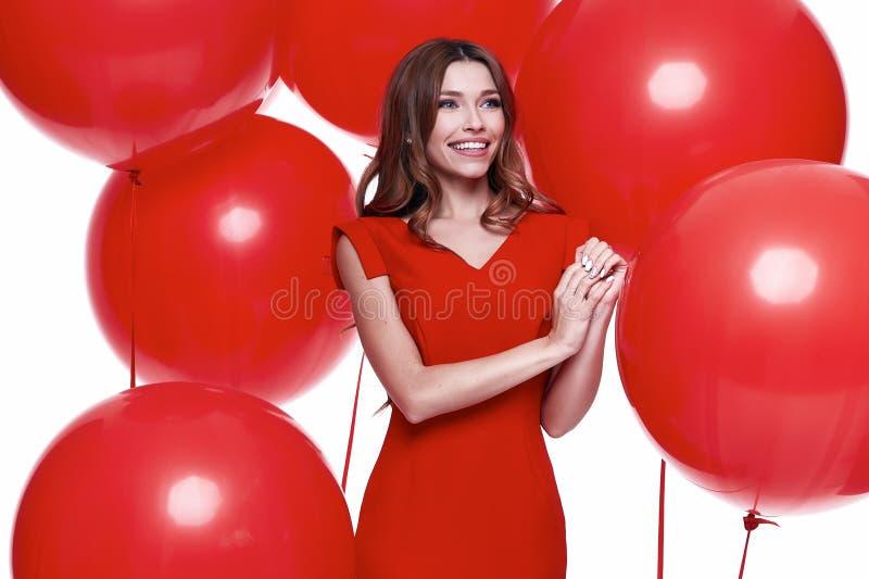 Платье стиля дела красивой сексуальной женщины брюнет тощее стоковое изображение rf