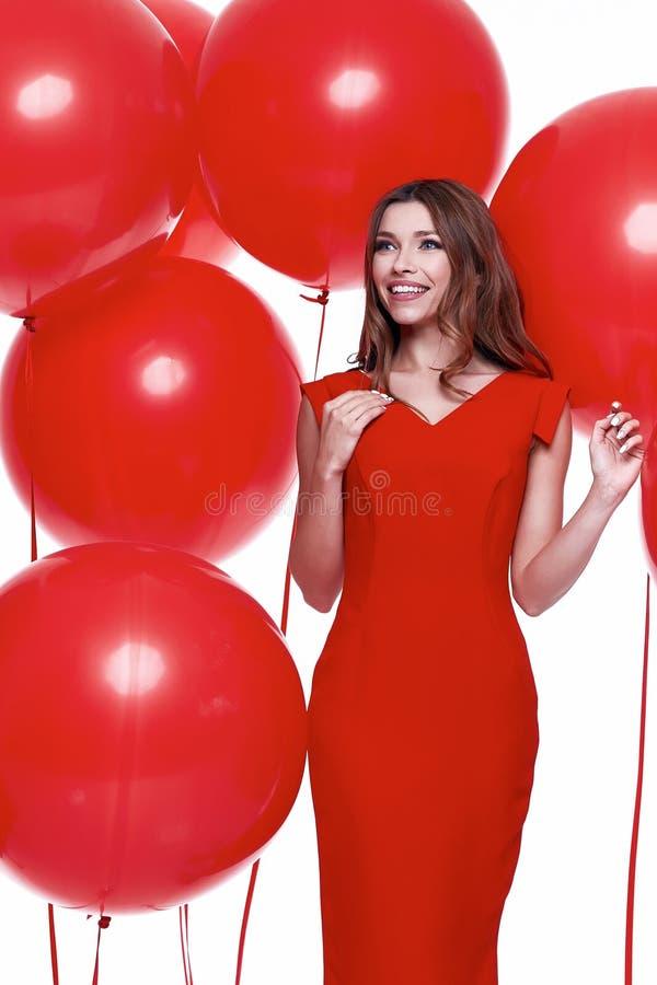 Платье стиля дела красивой сексуальной женщины брюнет тощее стоковые изображения rf