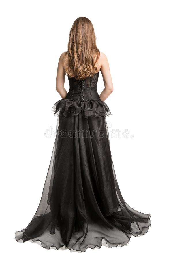 Платье черноты фотомодели, вид сзади длинной мантии женщины задний, девушка смотря прочь, белый стоковые изображения rf