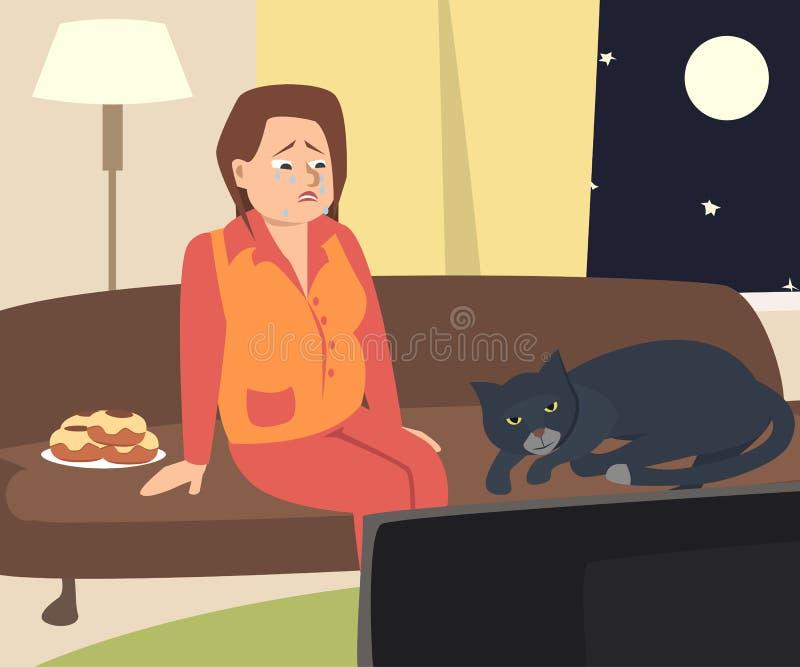 Плача женщина смотря ТВ с котом иллюстрация штока