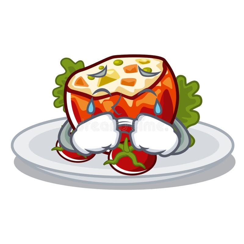 Плача заполненные томаты на доске мультфильма бесплатная иллюстрация