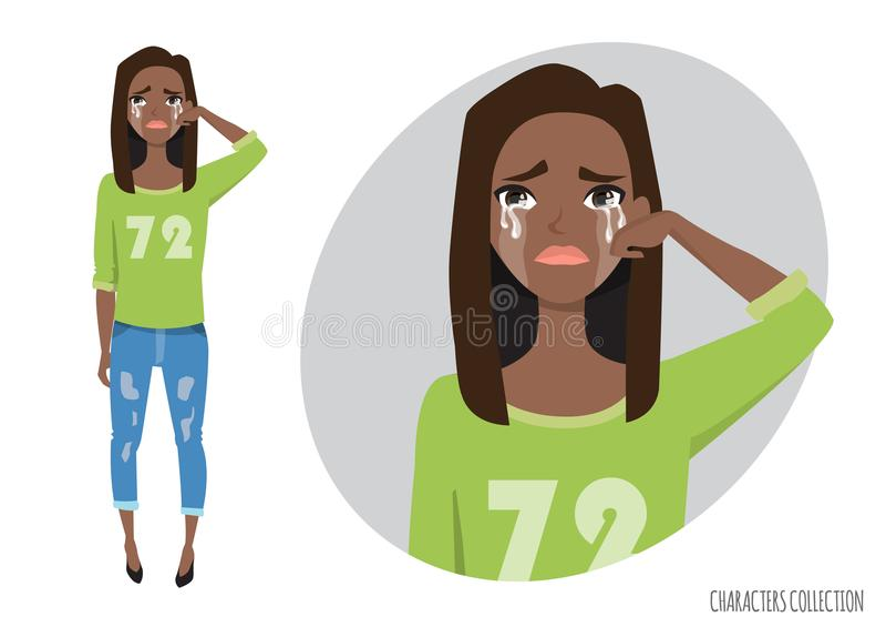 Плача черный Афро-американский wipe девушки срывает от ее стороны иллюстрация вектора