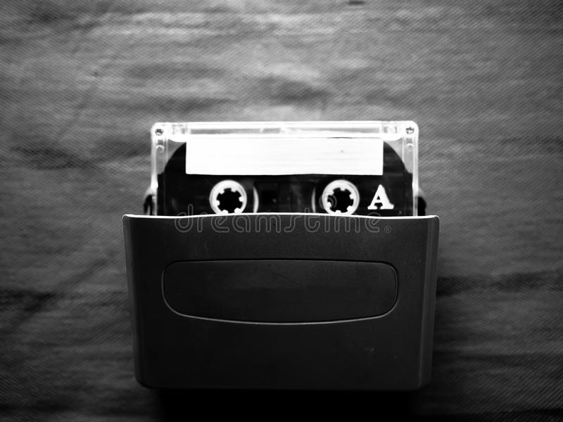 Плеер и кассета в черно-белом стоковое изображение rf