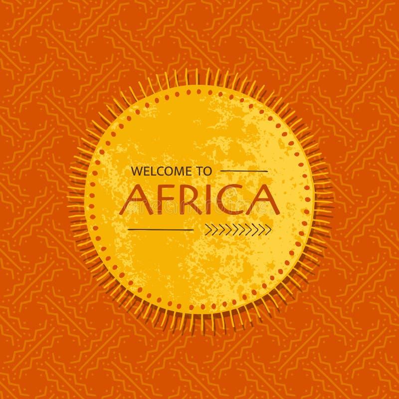 Племенная африканская карта с рамкой солнца Шаблон для плаката, летчика, знамени с геометрической безшовной картиной иллюстрация штока