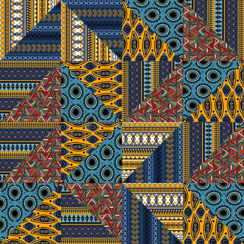Племенная сплошная картина с этническим рисунком, сочетающим геометрический стиль иллюстрация вектора