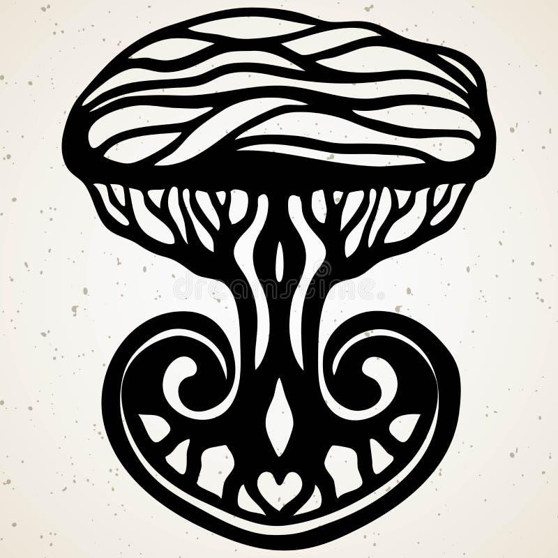 Племенная татуировка с этническим деревом Подлинное художественное произведение с символом тотема Татуировки векторных график зап иллюстрация штока