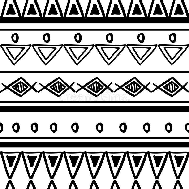 Племенная текстура картины с африканцем руки вычерченным, ацтеком, иллюстрацией вектора Майя творческой рисуя Черно-белые картины бесплатная иллюстрация