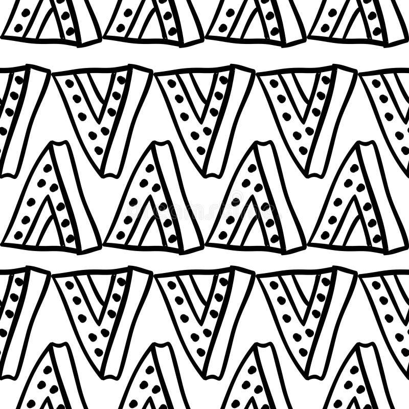 Племенная текстура картины с африканцем руки вычерченным, ацтеком, иллюстрацией вектора Майя творческой рисуя Черно-белые картины иллюстрация вектора