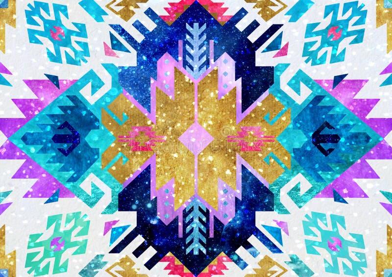 Племенная турецкая безшовная картина в богемском стиле Идеал для карточки ткани, упаковочной бумаги, приветствия и приглашения иллюстрация штока