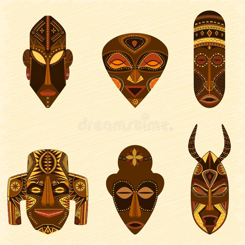 Племенной африканский комплект вектора маск иллюстрация вектора