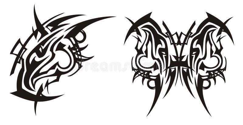 Племенной выступленный символ и бабочка головы орла от ее иллюстрация вектора