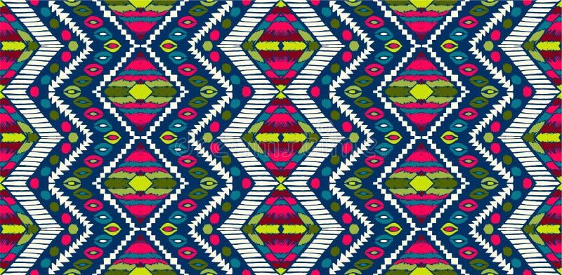 Племенной орнамент вектора африканская картина безшовная Этнический ковер с шевронами Ацтекский стиль иллюстрация штока