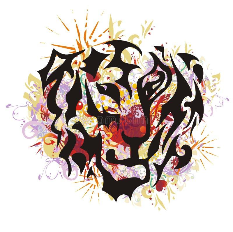 Племенной талисман тигра в стиле grunge бесплатная иллюстрация