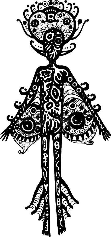 Племенной человек чужеземца силуэта Искусство сюрреалистических фантастических чернил графическое бесплатная иллюстрация