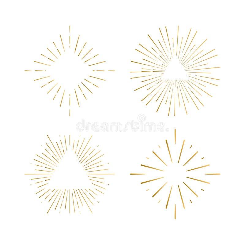 Племенные рамки sunburst boho с местом для вашего текста Логотип битника искры золота, линия фейерверк вектора формирует иллюстрация вектора