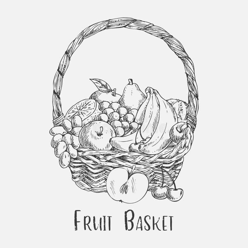 Плетеная корзина или ped делают эскиз к с едой плодоовощ сада бесплатная иллюстрация